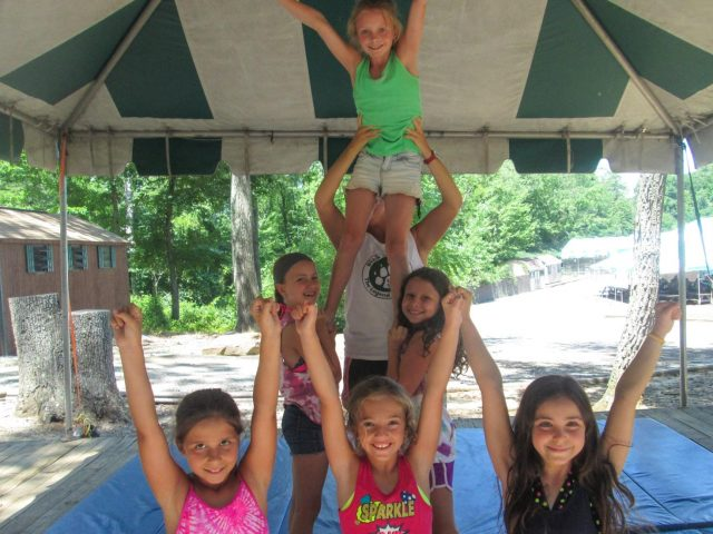 Campers cheerleading