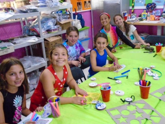 Campers at arts and crafts