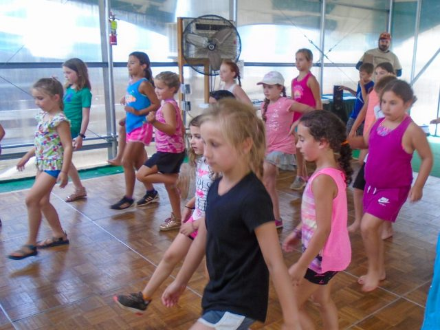 Campers learning to dance