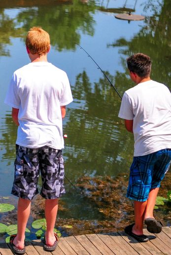 Older campers fishing