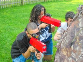 Campers playing laser tag