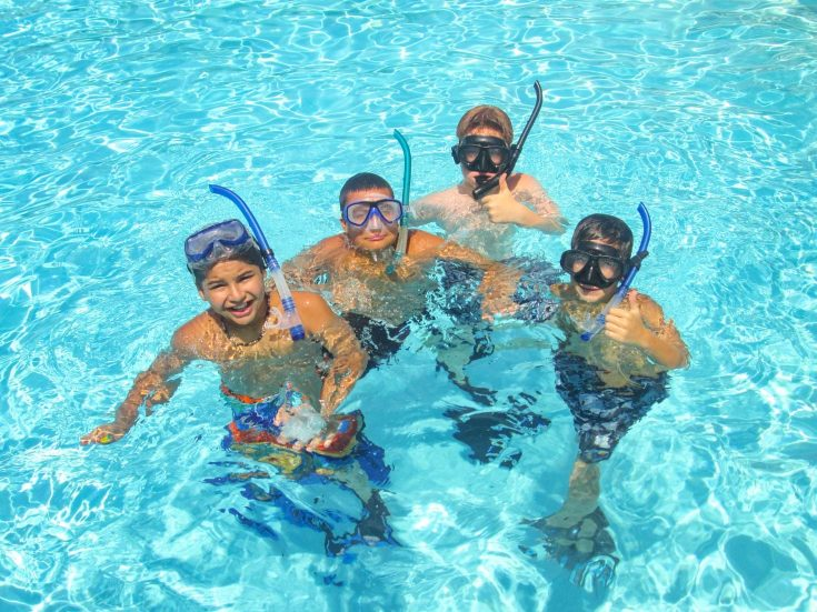 Boys learning to scuba