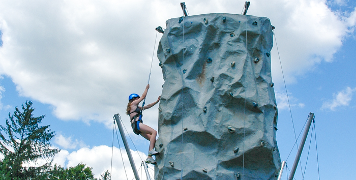 Girl on the rock wall