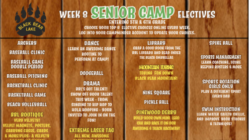 senior camp week 8 electives