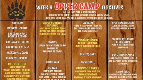 upper camp week 8 electives